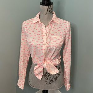 Adorable White / Pink Bicycle Button-Down Top, XS